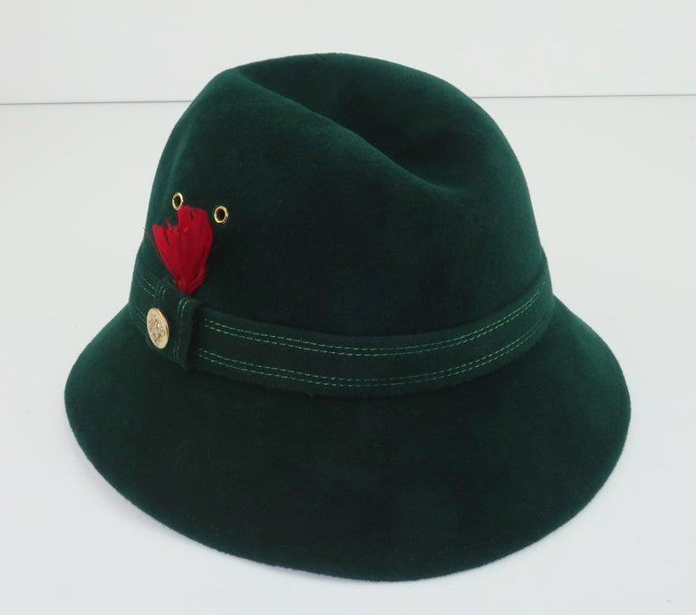 Adolfo Tyrolean Style Green Wool Felt Hat, C.1970 For Sale 3