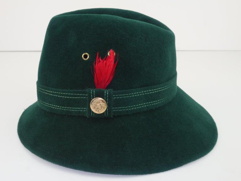 Adolfo Tyrolean Style Green Wool Felt Hat, C.1970 For Sale 4