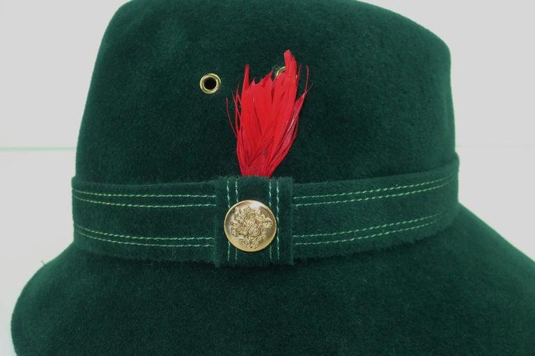 Adolfo Tyrolean Style Green Wool Felt Hat, C.1970 For Sale 5