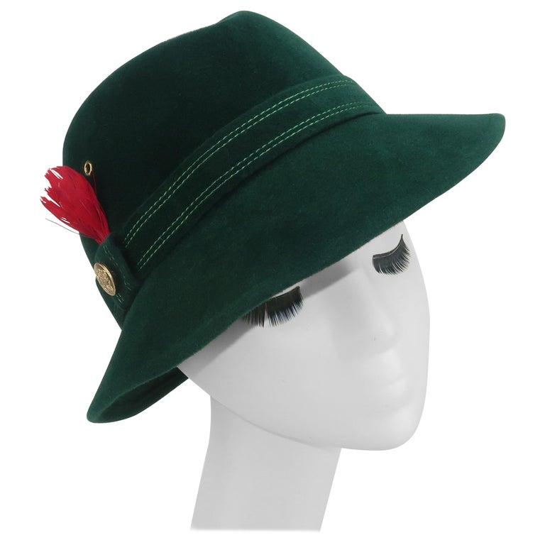 Adolfo Tyrolean Style Green Wool Felt Hat, C.1970 For Sale