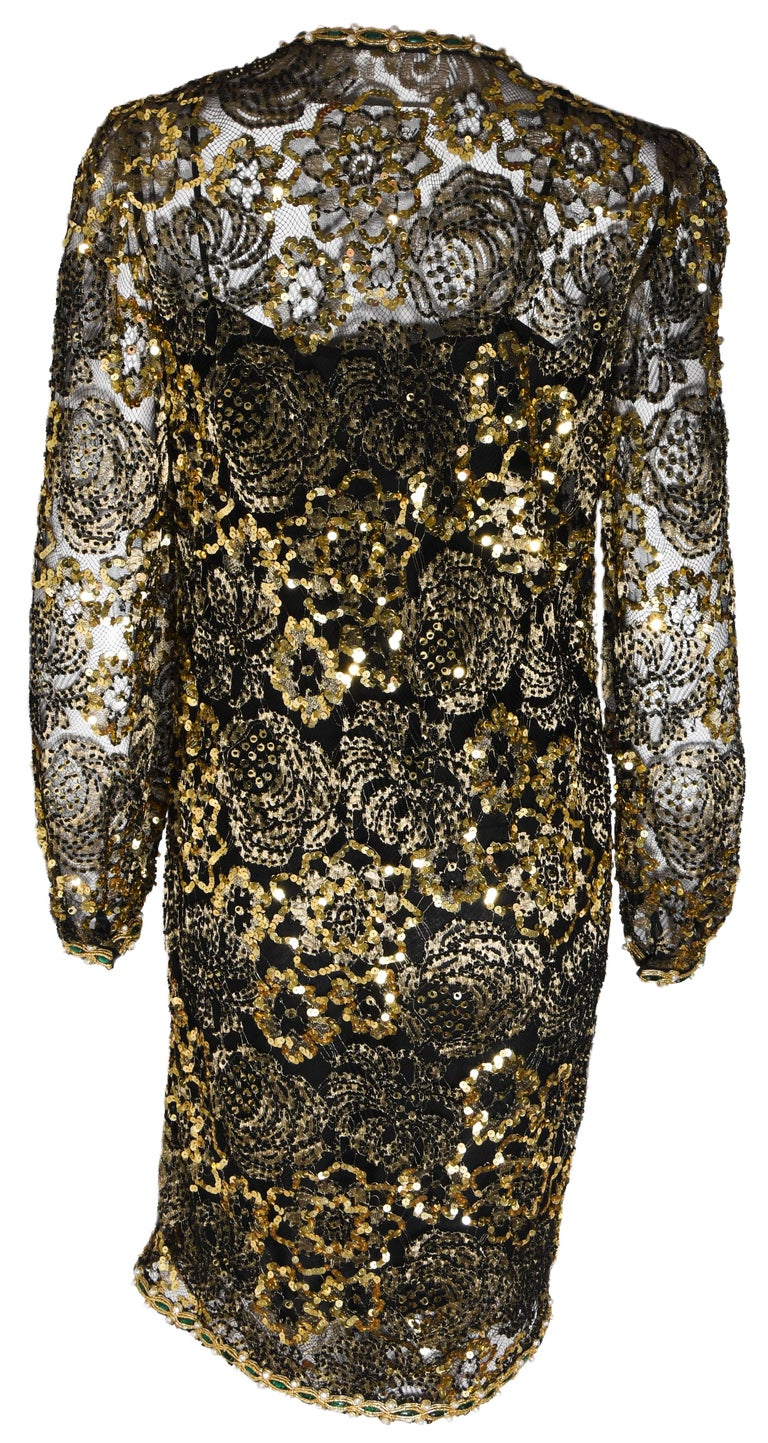 Adolfo Vintage Beaded Gold Sequin Dress & Black Lace Dress & Matching Silk Slip In Excellent Condition For Sale In Palm Beach, FL