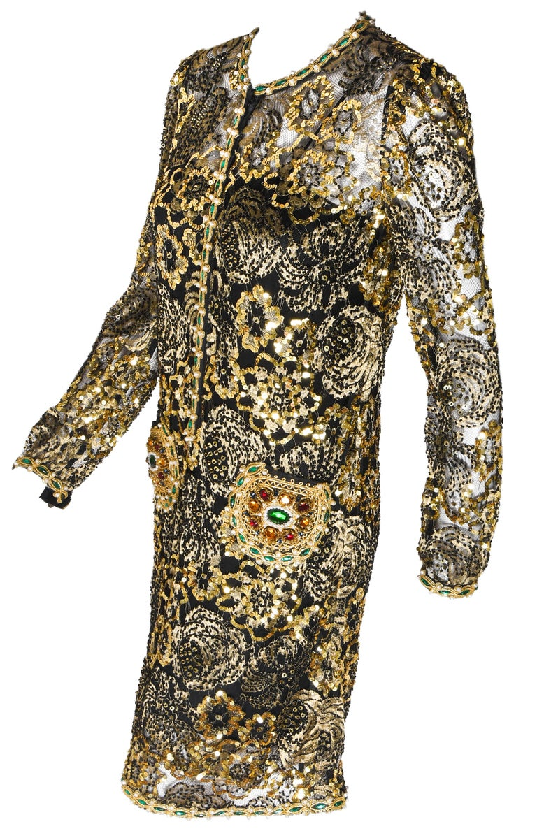 Women's Adolfo Vintage Beaded Gold Sequin Dress & Black Lace Dress & Matching Silk Slip For Sale