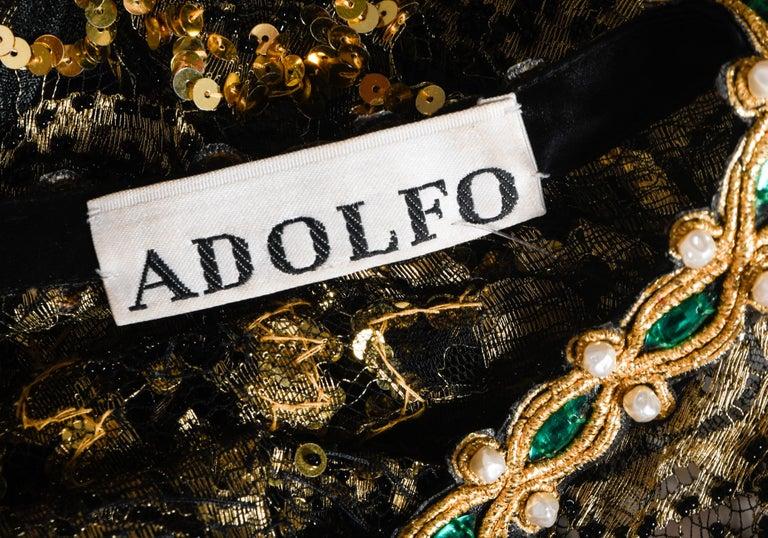 Adolfo Vintage Beaded Gold Sequin Dress & Black Lace Dress & Matching Silk Slip For Sale 1