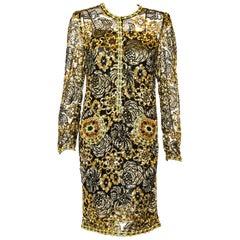 Adolfo Vintage Beaded Gold Sequin Dress & Black Lace Dress & Matching Silk Slip
