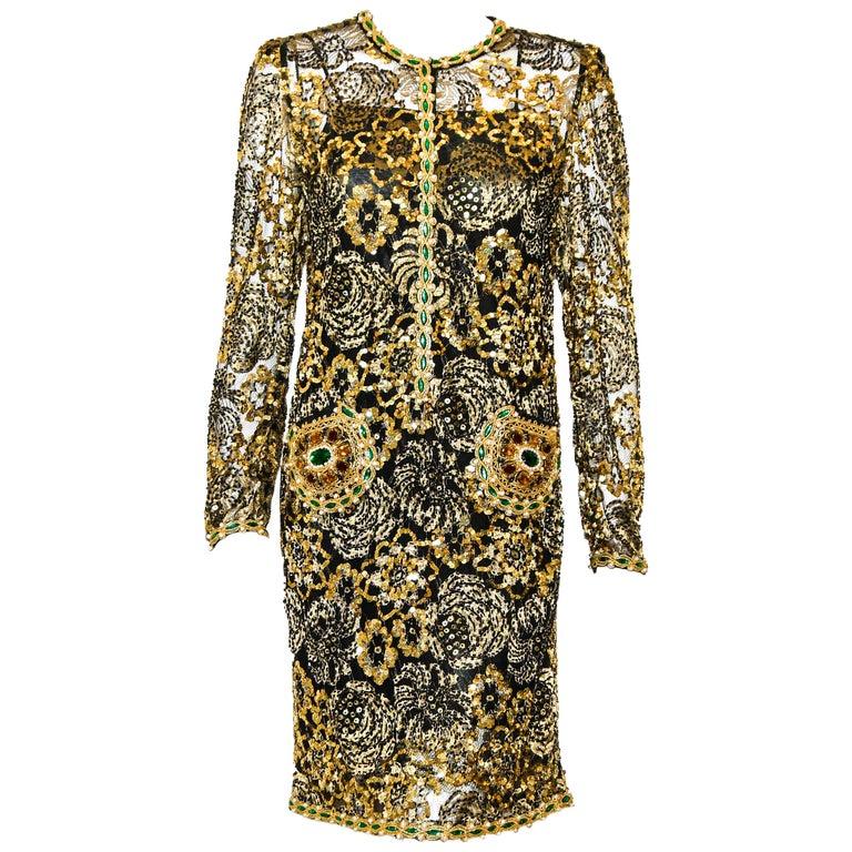 Adolfo Vintage Beaded Gold Sequin Dress & Black Lace Dress & Matching Silk Slip For Sale