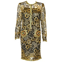 Adolfo Vintage Beaded Gold Sequin Dress & Black Lace Dress & Matching Silk Slip