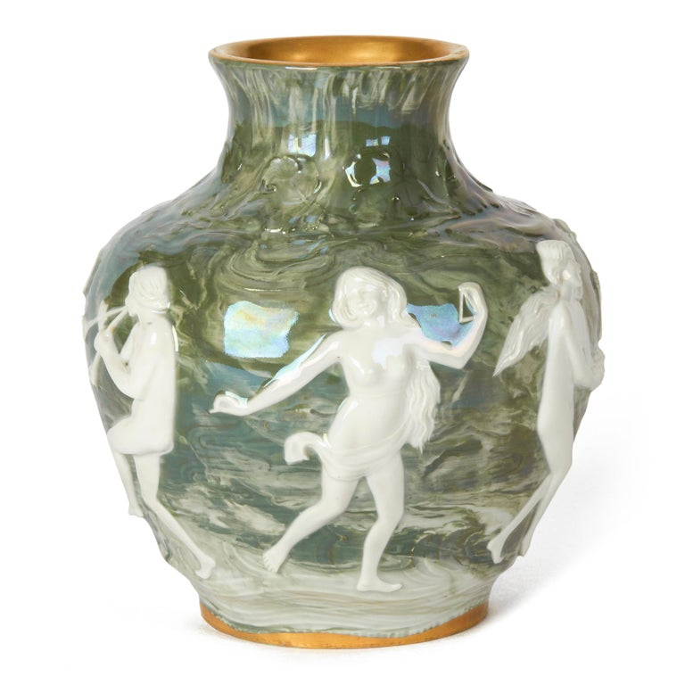 Adolph Oppel Kronach Art Nouveau Pottery Vase with Maidens, circa 1900 In Good Condition For Sale In Bishop's Stortford, Hertfordshire