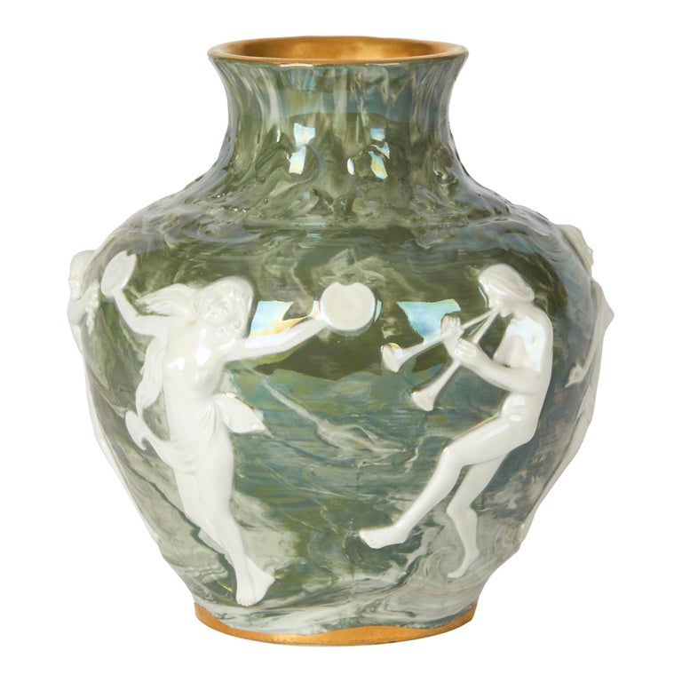 Adolph Oppel Kronach Art Nouveau Pottery Vase with Maidens, circa 1900 For Sale