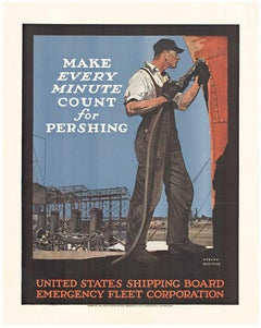 Make Every Minute Count for Pershiping original World War 1 vintage poster