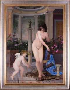 A large French 19th C painting of Venus and Cupid in a classical surrounding