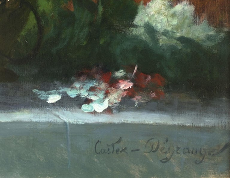 Flowers Painting 19th Century - Brown Still-Life Painting by Adolphe Louis Castex-Degrange