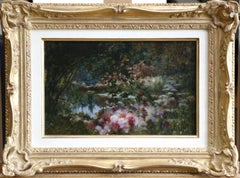 Water Lilies on Lake - 19th Century Oil, Flowers in Landscape by Castex-Degrange