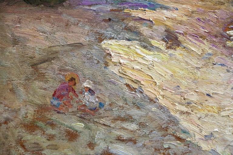 Enfants sur la Plage - 19th Century Oil, Figures on Beach Landscape by A Gaussen - Gray Figurative Painting by Adolphe Louis Gaussen
