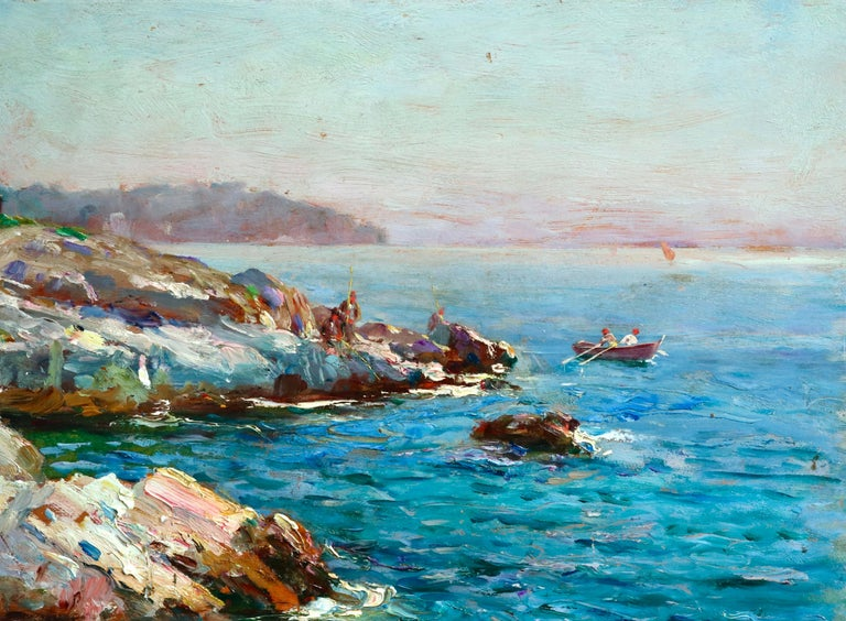 Oil on panel circa 1920 by Adolphe Louis Gaussen depicting fisherman on the coast on a calm summer's day with figures standing on the rocks. Signed lower right. This painting is not currently framed but a suitable frame can be sourced if