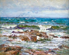 On The Coast - Saint Maxime - 19th Century Oil, Boat at Sea Landscape by Gaussen
