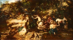 Les Baigneuses - 19th Century Oil, Figures by a River Landscape by A Monticelli