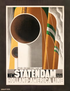 """New Statendam for Real Comfort"" Original Vintage Travel Poster 1920s"