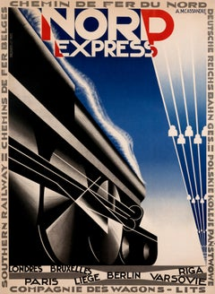 """Nord Express"" Original Vintage French Art Deco Rail Poster 1920s"