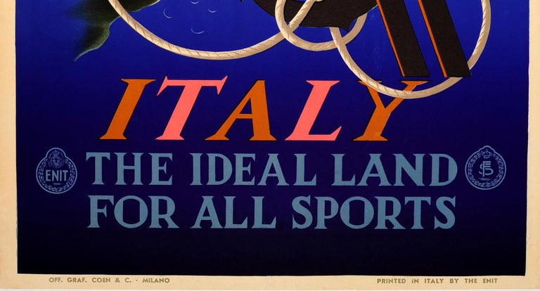 Original Vintage ENIT Travel Poster By Cassandre Italy Ideal Land For All Sports - Purple Print by Adolphe Mouron Cassandre