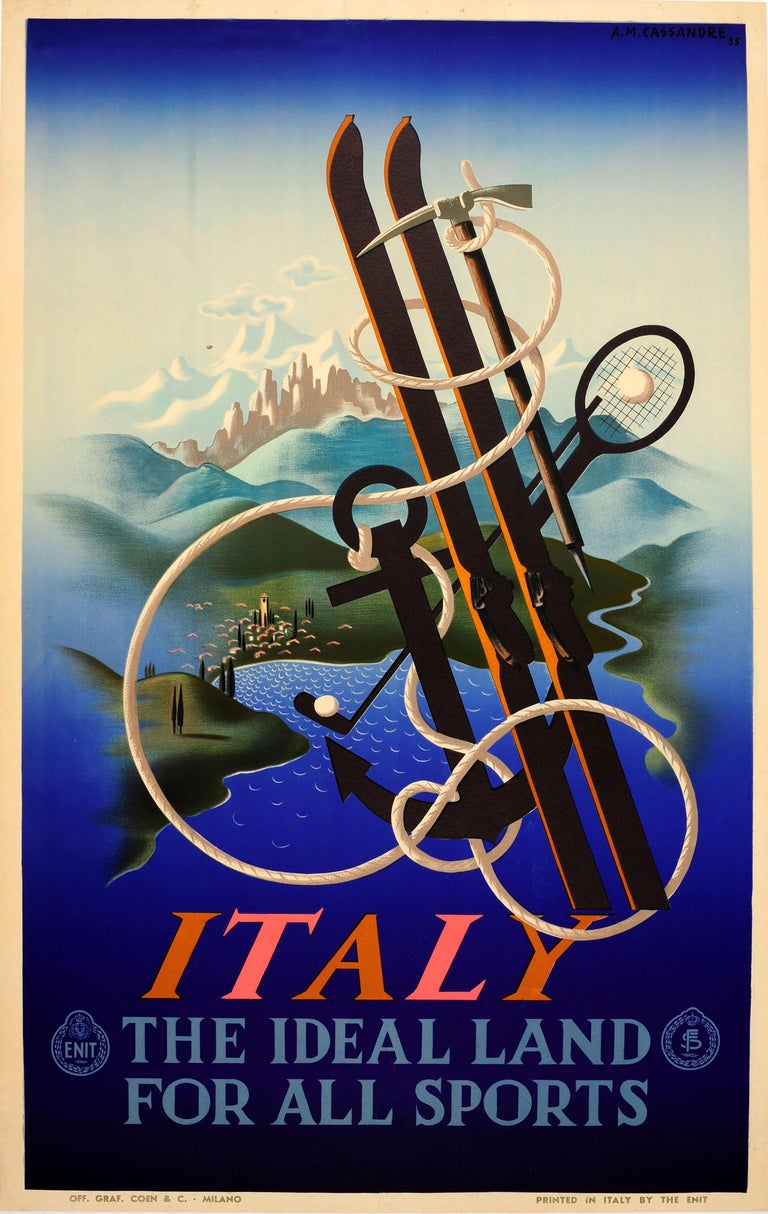 Adolphe Mouron Cassandre Print - Original Vintage ENIT Travel Poster By Cassandre Italy Ideal Land For All Sports