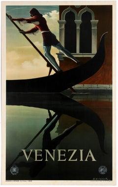 Original Vintage Iconic ENIT Travel Poster By Cassandre Venice Venezia Gondola