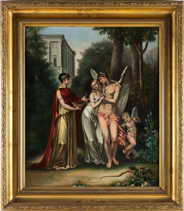 Adolphe Perrot Oil on Canvas Allegory of Love and Friendship 19th-Century  Interesting and decorative oil on canvas, depicting Allegory of Love and Friendship.  19th-century French school to a manner of Pierre Paul Prud'hon, circa