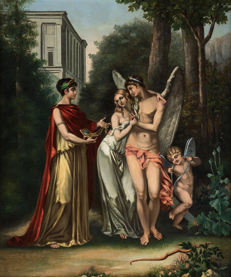 French Adolphe Perrot Oil on Canvas Allegory of Love and Friendship 19th-Century For Sale