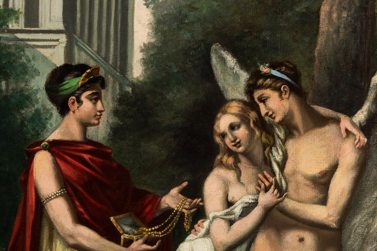 Adolphe Perrot Oil on Canvas Allegory of Love and Friendship 19th-Century For Sale 1