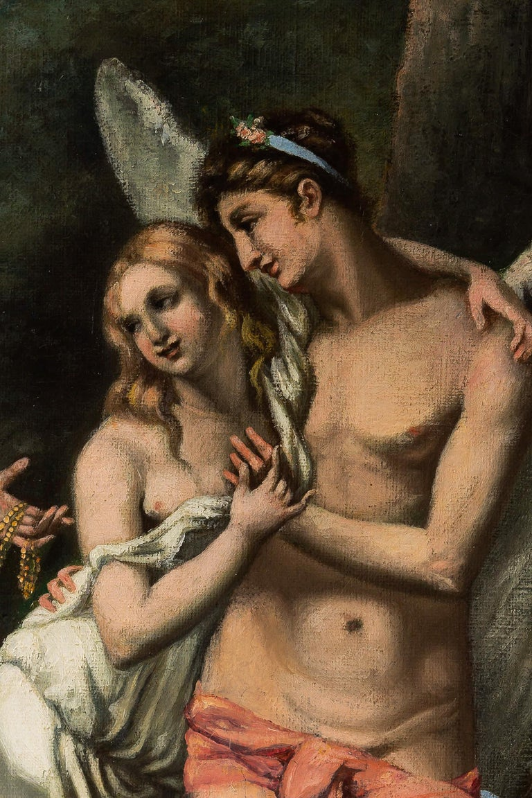 Adolphe Perrot Oil on Canvas Allegory of Love and Friendship 19th-Century For Sale 2