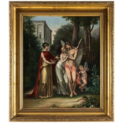 Adolphe Perrot Oil on Canvas Allegory of Love and Friendship 19th-Century