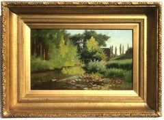 Italian River Landscape, Oil on Panel Painting