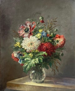 Large 19th Century French Signed Oil Painting - Profusion of Flowers Glass Vase