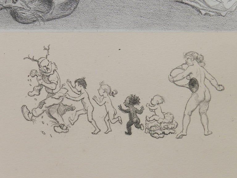 Adolphe Willette Lithograph Original Hand Signed Seven Deadly Sins Erotic Nude For Sale 3