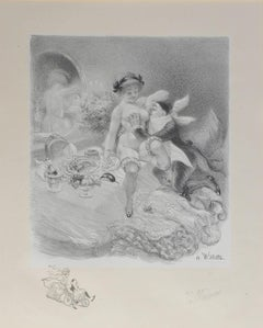 Adolphe Willette Lithograph Original Hand Signed Seven Deadly Sins Erotic Nude