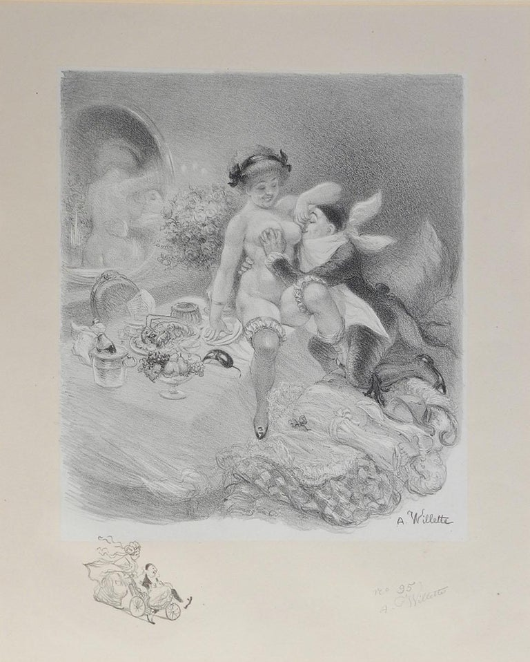 Adolphe Willette Lithograph Original Hand Signed Seven Deadly Sins Erotic Nude - Print by Adolphe Willette