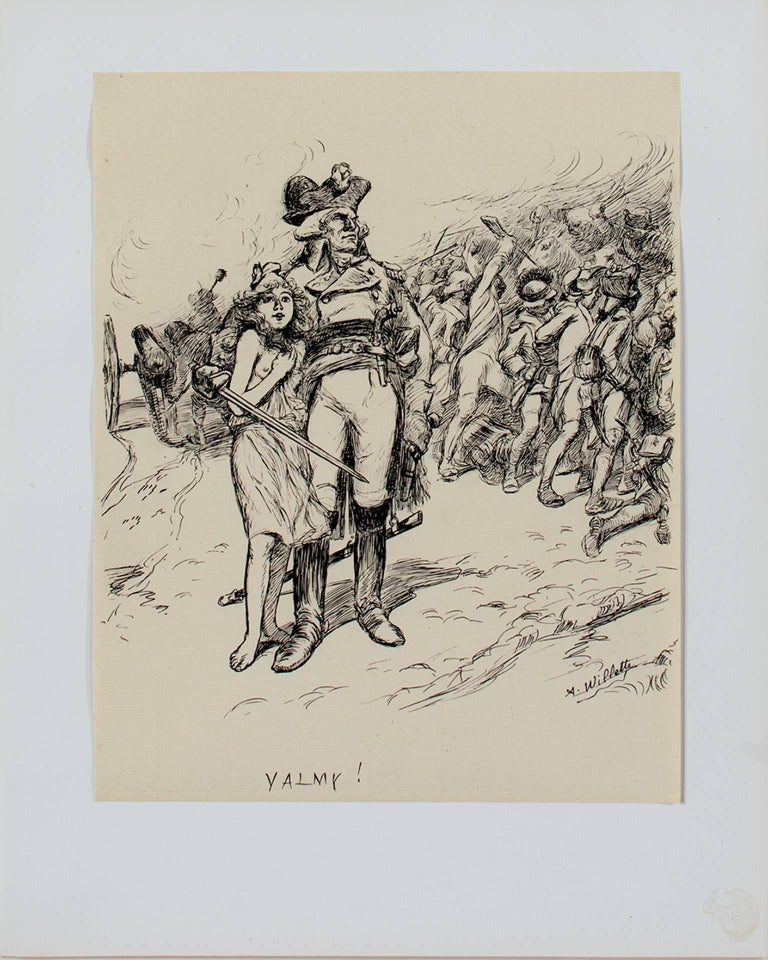 """VALMY! (L'Estampe Moderne)"" is a print watermarked PL BAS after a drawing by Adolphe Willette. It depicts a general with his army and a young girl.   15 3/4"" x 12"" art 23"" x 19 1/4"" frame  Adolphe Léon Willette (30 July 1857 – 4 February 1926) was"