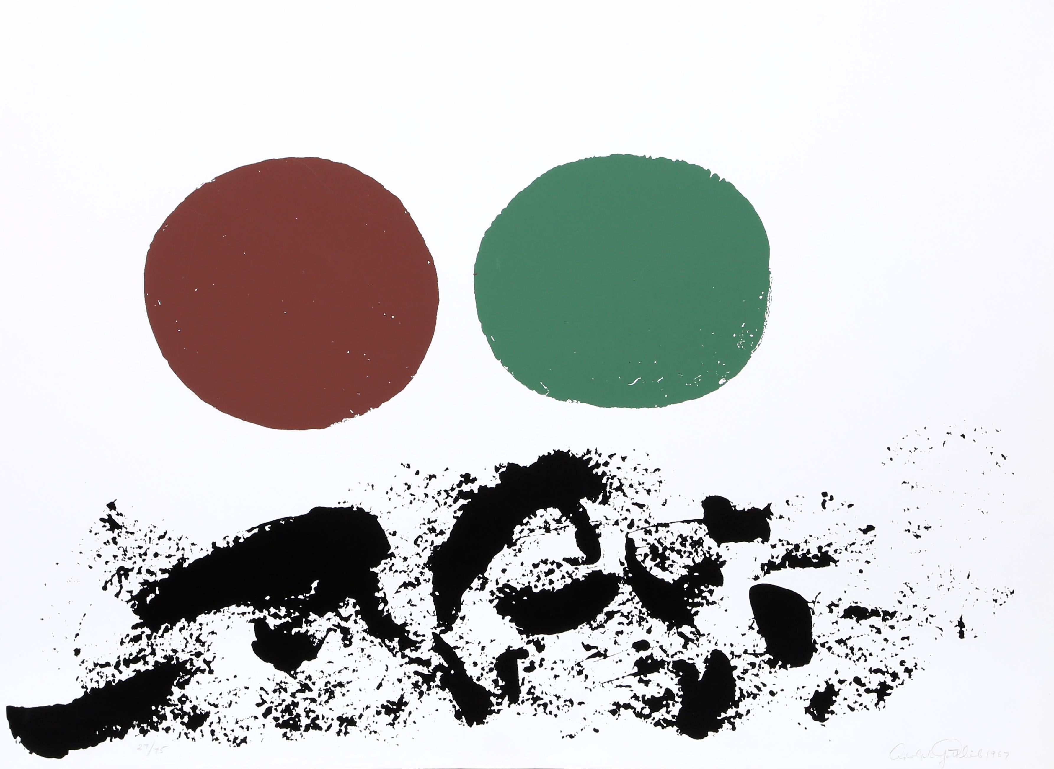 Flurry, Abstract Expressionist Sillkscreen by Adolph Gottlieb 1967