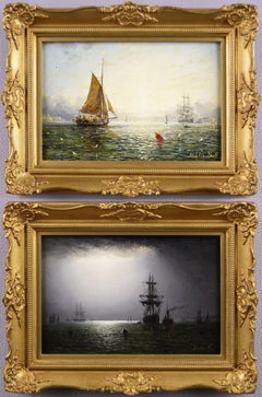 19th Century pair of seascape oil paintings of fishing boats