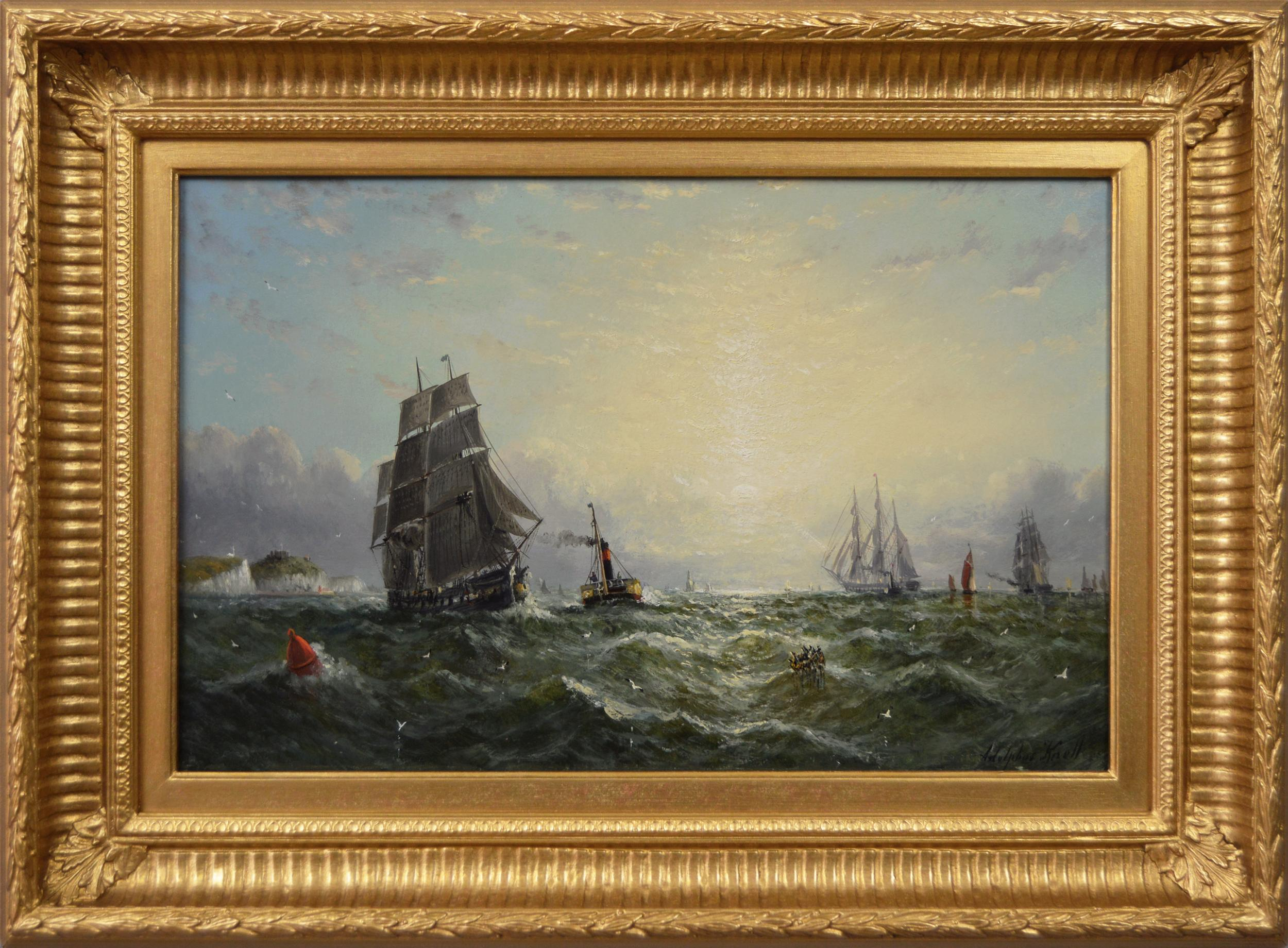 19th Century seascape oil painting of a steam boat & sailing ships off Dover