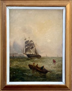 Antique Victorian 19th century English Coastal war ship with men rowing at sea