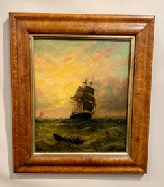 Antique Victorian 19th century English oil Fishing boat with the Sun setting