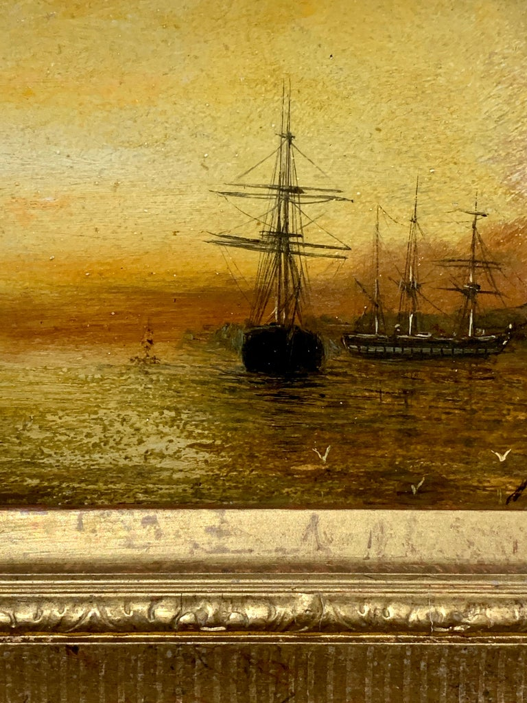 Antique Victorian 19th century English oil ships at anchor with the Sun setting - Painting by Adolphus Knell