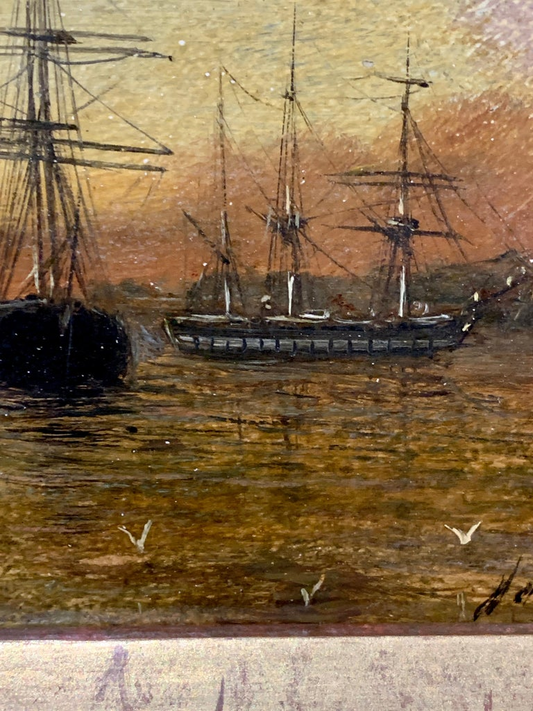 Antique Victorian 19th century English oil, shipping at anchor with the Sun setting.   Knell was a superb painter of marine subjects during the middle of the 19th century. His work is collected all over the world and many are in important