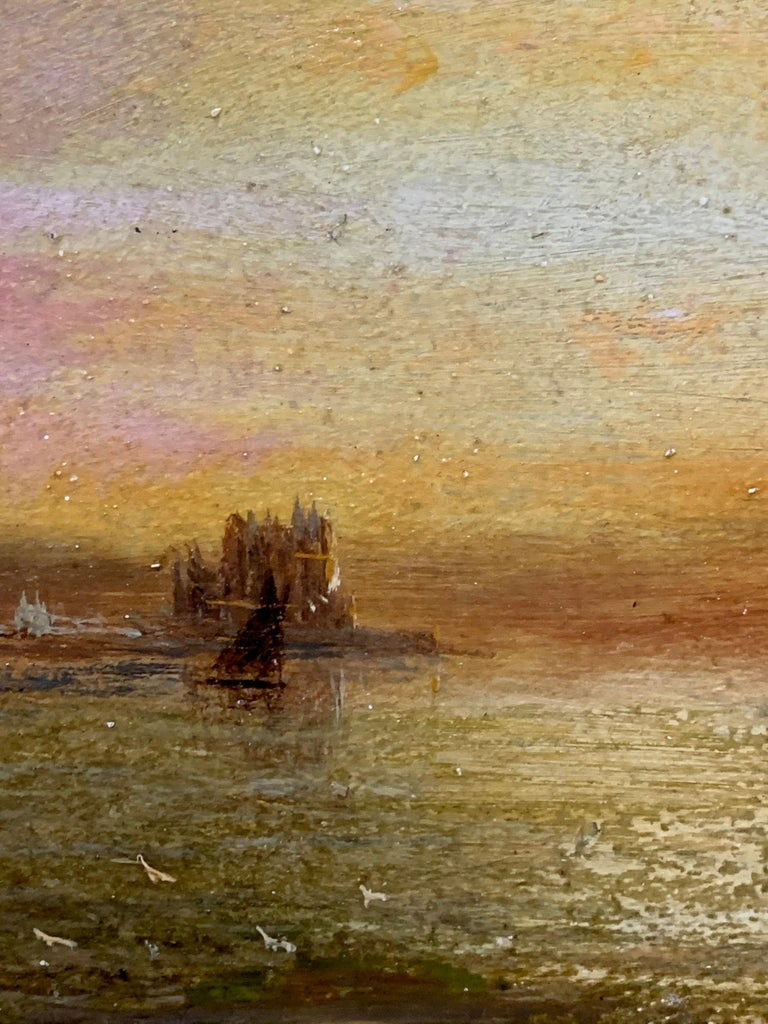 Antique Victorian 19th century English oil ships at anchor with the Sun setting For Sale 1