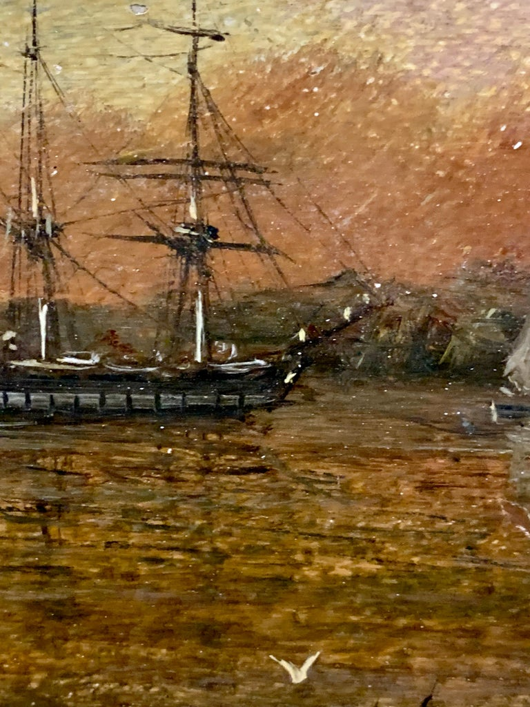 Antique Victorian 19th century English oil ships at anchor with the Sun setting For Sale 3