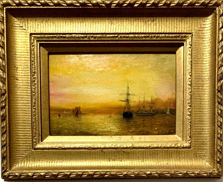 Adolphus Knell Landscape Painting - Antique Victorian 19th century English oil ships at anchor with the Sun setting