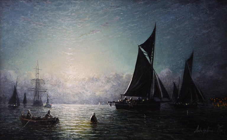 Pair of 19th Century seascape oil paintings of fishing boats  - Painting by Adolphus Knell