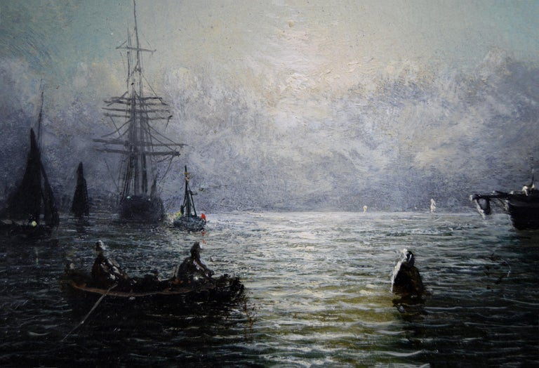 Pair of 19th Century seascape oil paintings of fishing boats  - Victorian Painting by Adolphus Knell
