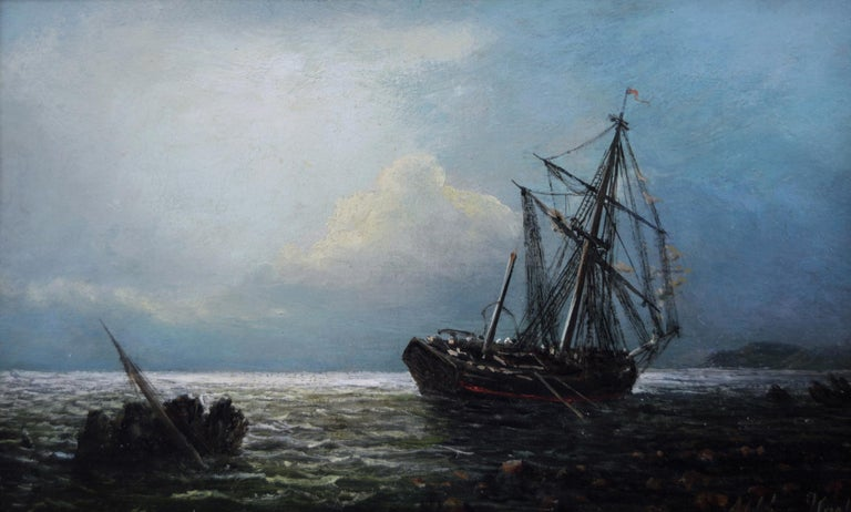 Pair of 19th Century seascape oil paintings of fishing boats  For Sale 1