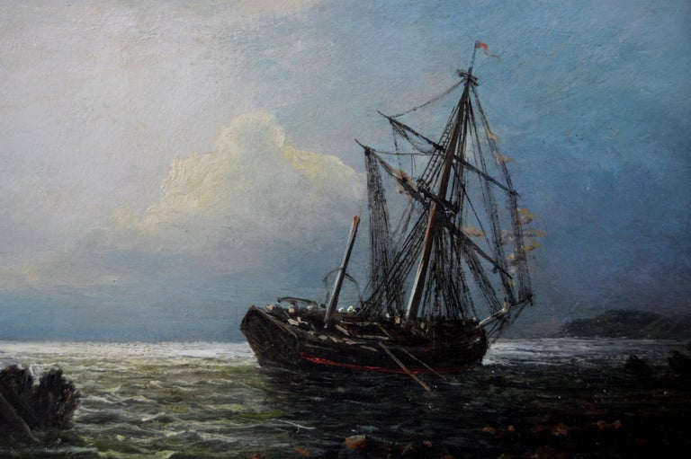 Pair of 19th Century seascape oil paintings of fishing boats  For Sale 2